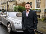 Jason Higgins, 44, pictured with his Bentley after the incident, was caught speeding by a group of community volunteers. He reported them to police after claiming they were the ones breaking the law