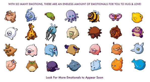 The Emotionals™ Are An Endless Array of Lovable, Huggable Imaginary Animals and Insects.