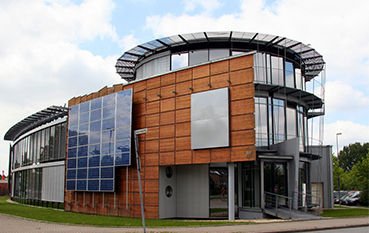 Modern Building with Solar Panels