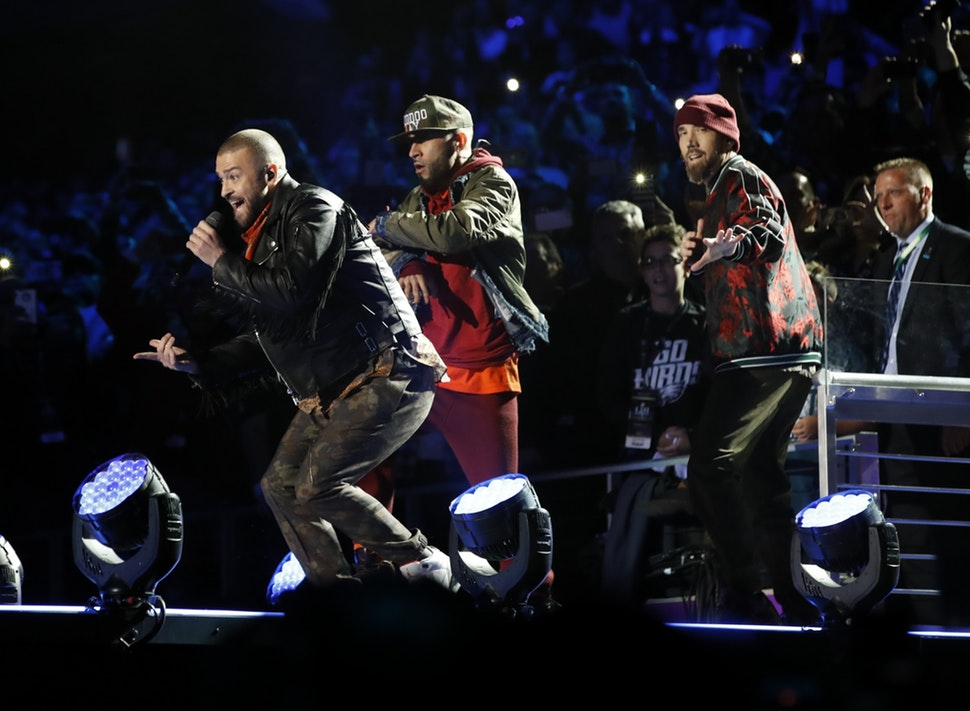 Justin Timberlake performed at the halftime show of Super Bowl LII at U.S. Bank Stadium.