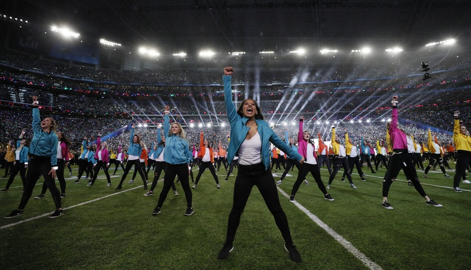Dancers performed Sunday during the halftime show headlined by Justin Timberlake during Super Bowl LII at U.S> Bank Stadium in Minneapolis.