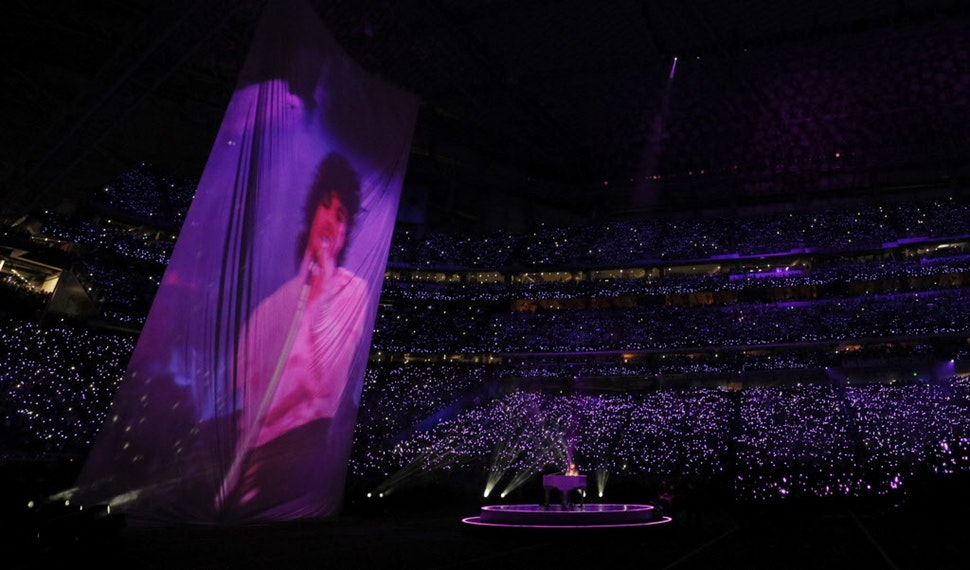 """Accompanied by a huge video projection of Prince in """"Purple Rain,"""" Justin Timberlake sang """"I Would Die 4 U"""" during the halftime show at Super Bowl LII at U.S. Bank Stadium in Minneapolis."""