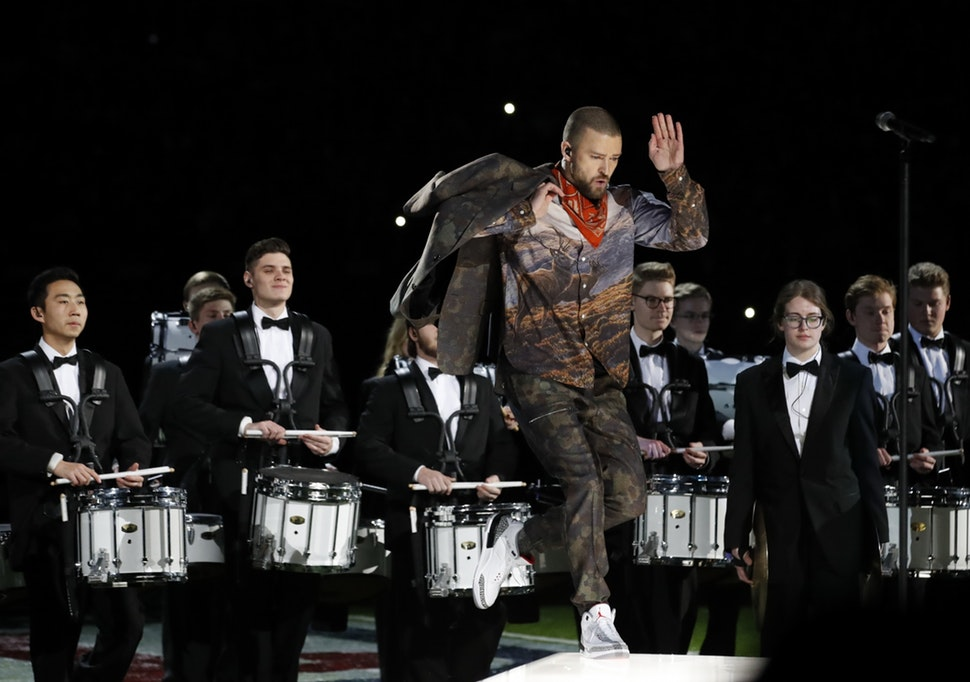 Justin Timberlake showed off some dance moves during the halftime show of Super Bowl LII at U.S. Bank Stadium.