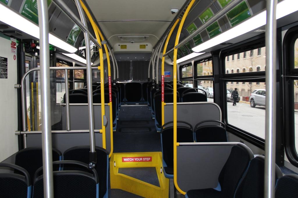 Interior of electric bus