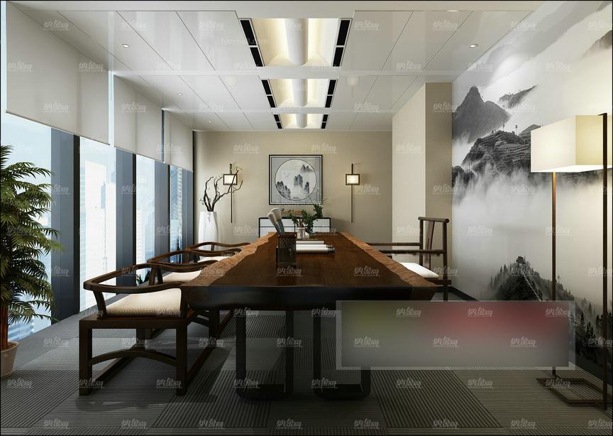 中式古典清新会议室全景模型