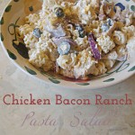 Cold and creamy with the perfect amount of crunch this Chicken Bacon Ranch Pasta Salad is a great lunch or light supper for hot summer days. #SundaySupper|cookingmimi.com