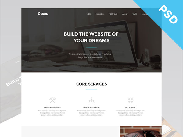 Dreams – Free One Page Web Template