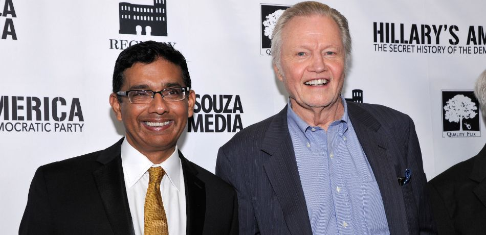"""Writer/Exec. Producer/Co-Director Dinesh D'Souza and Jon Voight seen at D'Souza Media Premiere of """"Hillary's America"""" on Monday, July 11, 2016, in Los Angeles, CA"""