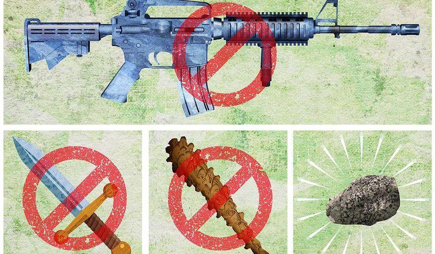 Logical Progression of a Gun Ban Illustration by Greg Groesch/The Washington Times