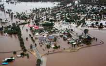 This general aerial view shows flooding in North Wagga Wagga, New South Wales.