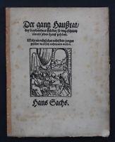 HANS SACHS,DER GANTZ HAUSSRAT BEY DREYHUBNDERT STÜCKEN,NÜRNBERG,1553,RAR