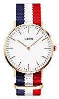 Naivo 18K Rose Gold over Stainless Steel Classic Cambridge Watch, Quartz Watch, Multicolor Band, Daniels Watch