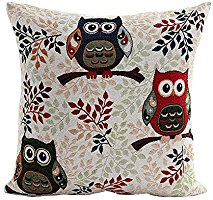 niceEshop(TM) Owl Pattern Soft Linen Decorative Throw Toss Pillow Case Home Cushion Cover Pillowcase,Colorful
