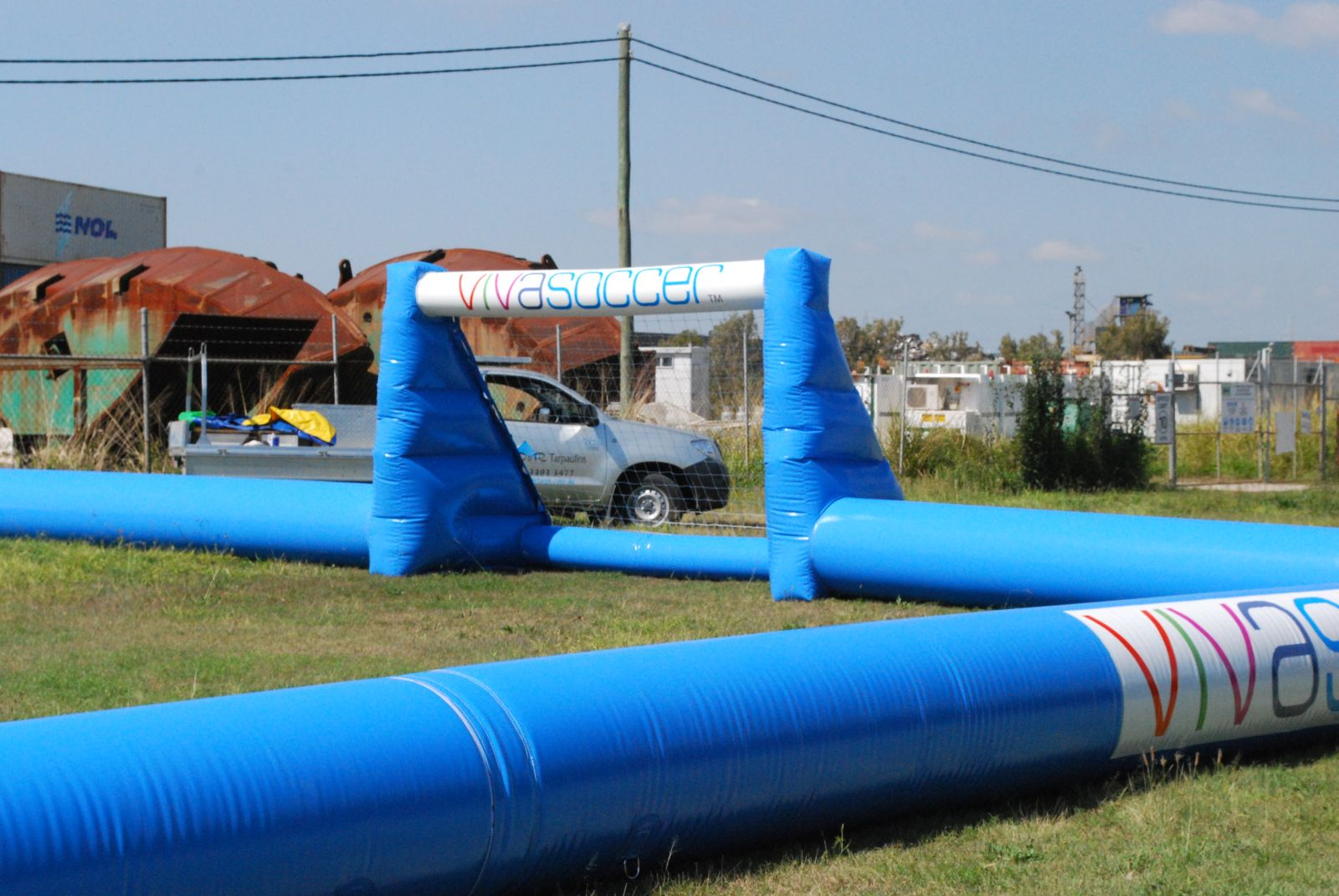 Inflatable soccer goals and fields
