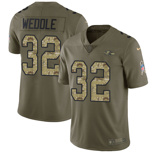 Men's Eric Weddle Olive/Camo Limited Football Jersey: Baltimore Ravens #32 2017 Salute to Service  Jersey