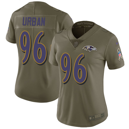 Women's Brent Urban Olive Limited Football Jersey: Baltimore Ravens #96 2017 Salute to Service  Jersey
