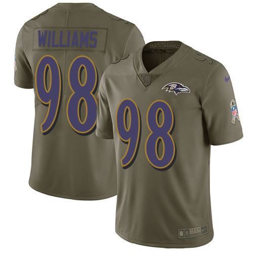Youth Brandon Williams Olive Limited Football Jersey: Baltimore Ravens #98 2017 Salute to Service  Jersey