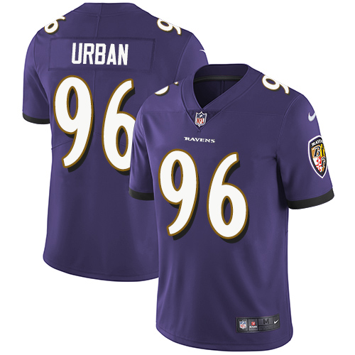 Men's Brent Urban Purple Limited Football Jersey: Baltimore Ravens #96 Rush Drift Fashion  Jersey