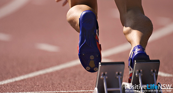 IMAGE: Close up of runner's feet at the starting block