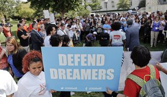 In this file photo, immigrant-rights supporters gather at the U.S. Capitol in Washington, Tuesday, Sept. 26, 2017. Frustrated with both President Trump and Congress, activists are increasingly turning to the courts to try to alter the country's immigration policies. (AP Photo/Pablo Martinez Monsivais) **FILE**