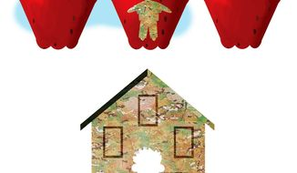 Illustration on school choice fro military families by Alexander Hunter/The Washington Times