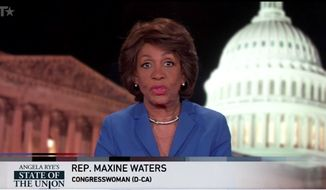 """Rep. Maxine Waters' rebuttal to President Trump's first State of the Union address called the president a """"terrible role model"""" who deserves a parental advisory every time he appears on television. (BET)"""