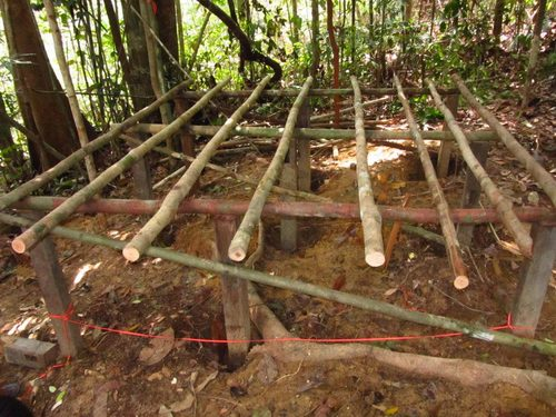 Foundations for the first orangutan sleeping enclosure at the rehabilitation facility in Tembak
