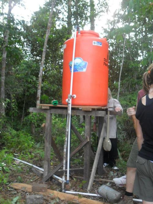 Water tank at the orangutan rehabilitation facility in Tembak, west Borneo
