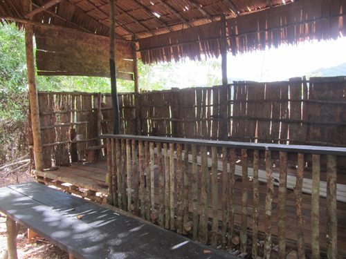 Temporary orangutan technicians hut constructed at the orangutan rehabilitation facility in Tembak, west Borneo