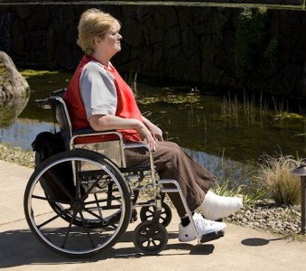 woman in wheelchair making a senior injury claim