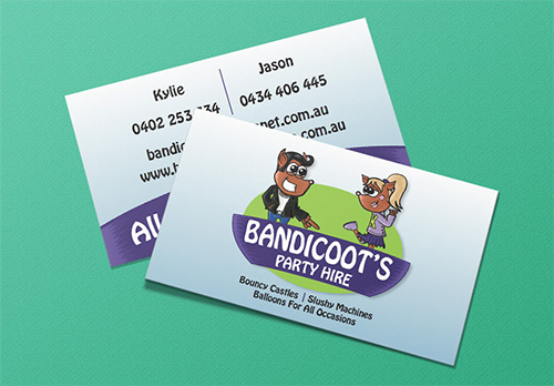 Illustrated Logo and Business Cards for Bandicoot's Party Hire