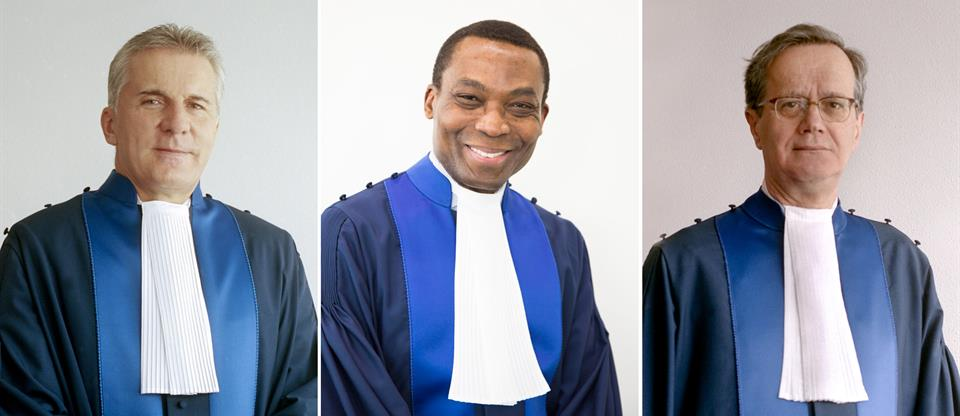 Pictured here from left to right: ICC First Vice-President Judge Robert Fremr, ICC President Judge Chile Eboe-Osuji, ICC Second Vice-President Judge Marc Perrin de Brichambaut © ICC-CPI
