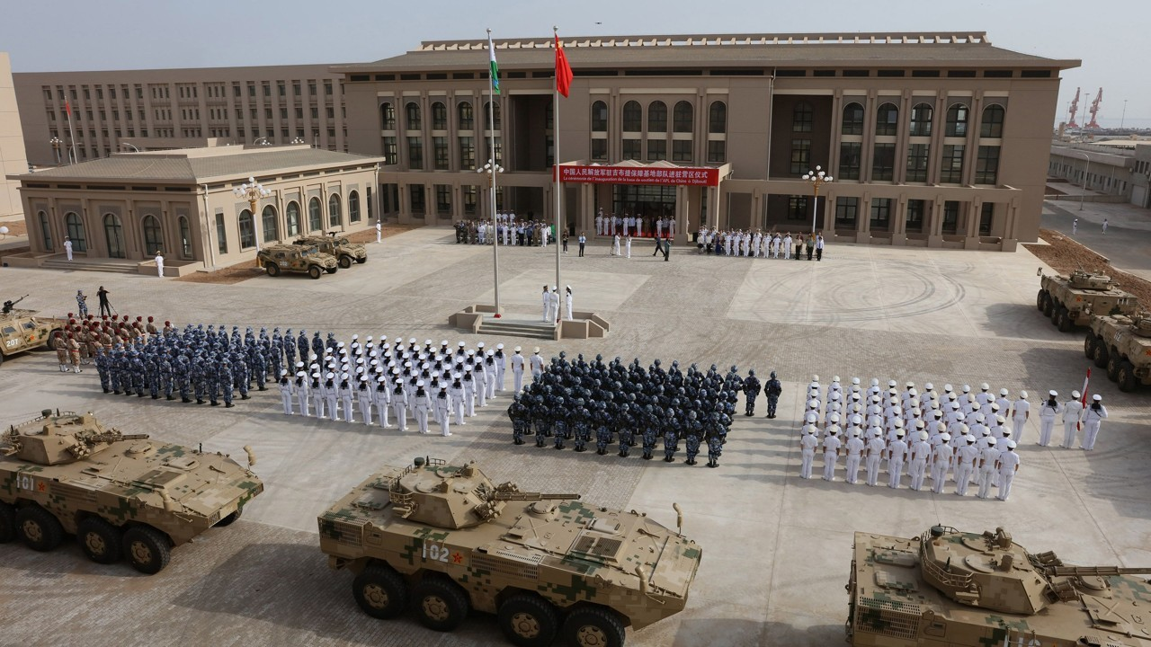 Chinese People's Liberation Army personnel attend the opening ceremony of China's new military base in Djibouti. Photo: AFP