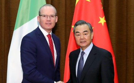 Simon Coveney met his Chinese counterpart Wang Yi in Beijing during his visit to China. Photo: Handout