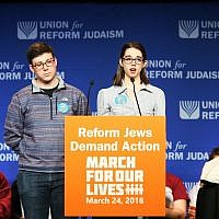 Pitt student Kathryn Fleisher and Boston University's Blake Dickler speak to a room of 2,500 Reform Jews in Washington, D.C., moments before participating in the main March for Our Lives. (Photo from NFTY Official Facebook Page)