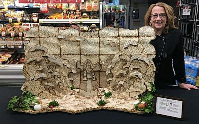 Food artist Nancy Baker was one of three commisioned to create matzah scenes in celebration of Passover at six Giant Eagle stores. (Photo courtesy of Dick Roberts)