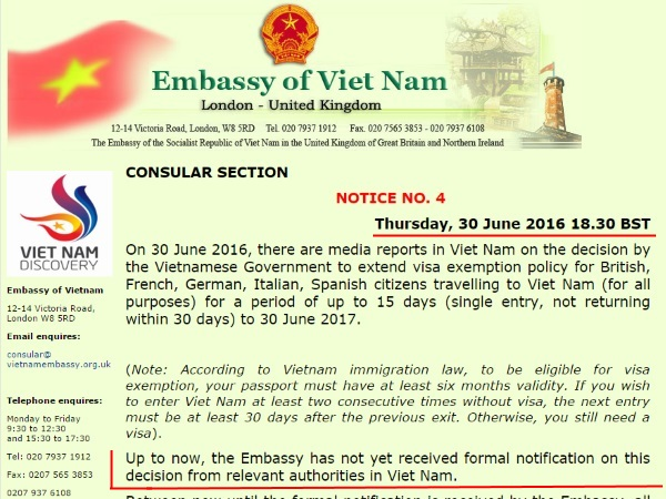 Website Embassy Vietnam London