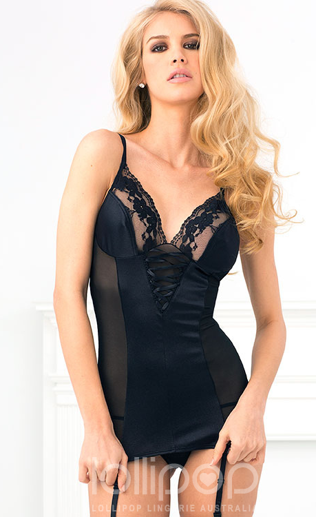 Looking Sexy Your Sport - Luxe Gartered Chemise And G-String in sultry black