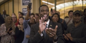 St. Paul mayor Melvin Carter celebrated his win with family and friends at the Union Depot November 7, 2017 in St. Paul.
