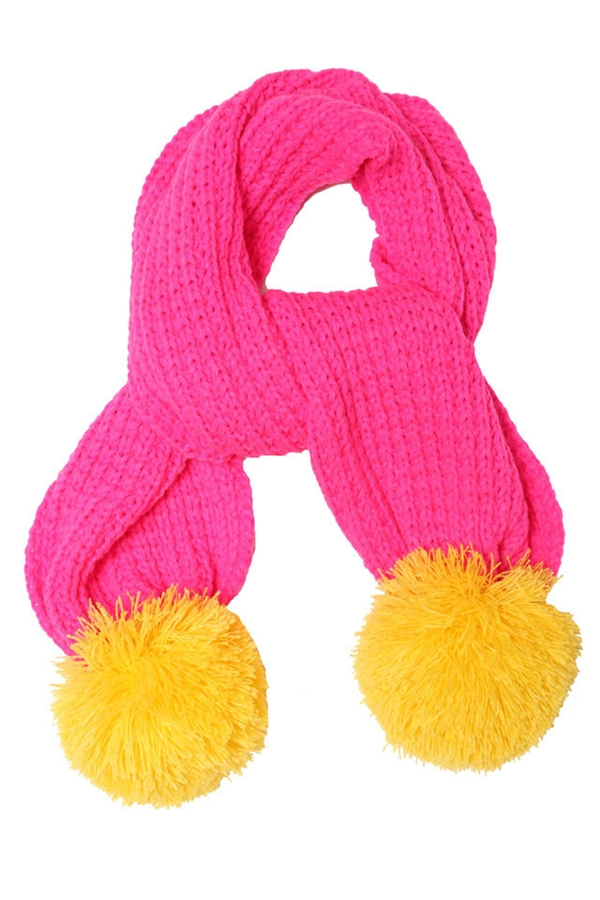 Miss Pom Pom Super Pom Scarf Pink Yellow