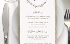 Menu Cards For Wedding