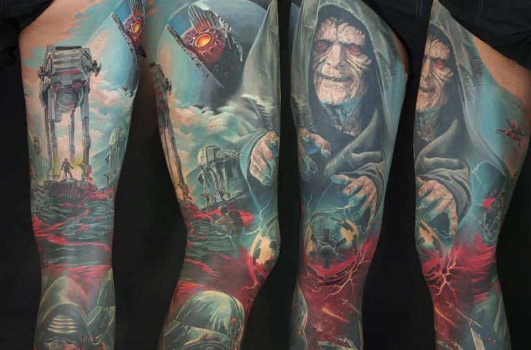 Star Wars colored sith colorer sleeve tattoo