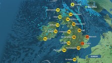 A humid morning in the southeast and cloudier elsewhere