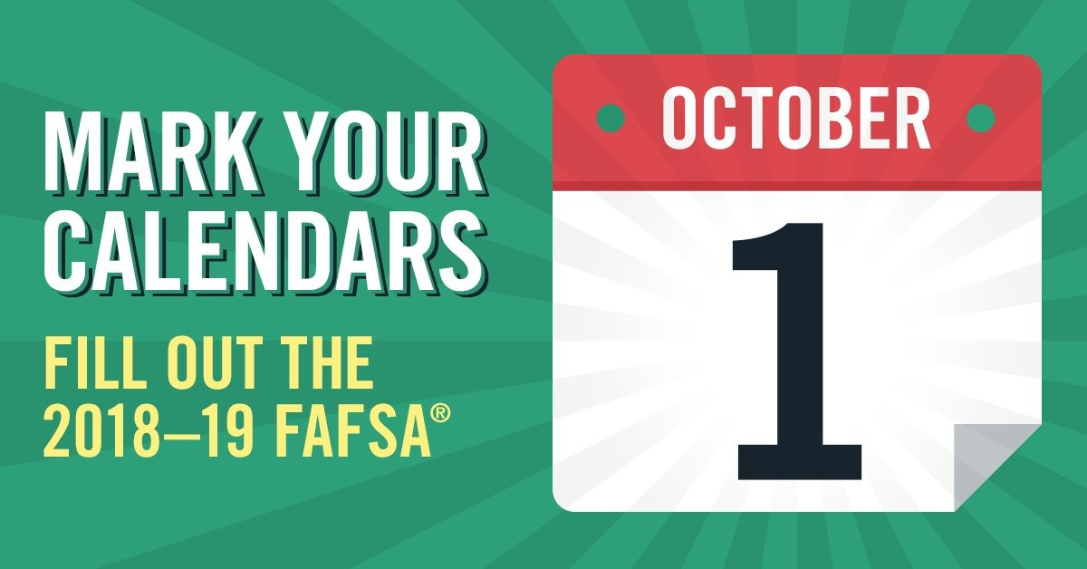FAFSA available October 1 graphic