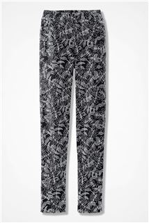 Coldwater Creek Etched Leaves Pull-On Day-to-Dinner Pants - 155 - 504 Black Multi 4P