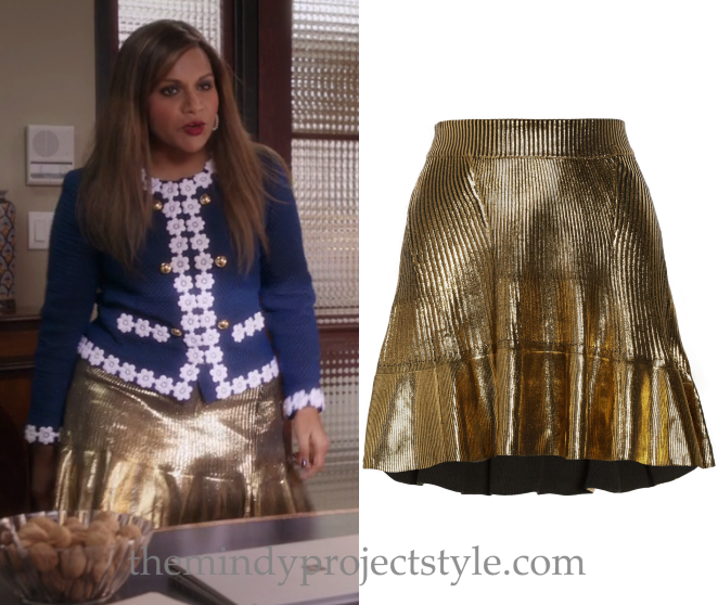 """Mindy's gold pleated skirt from """"The Greatest Date in the World"""" is the same skirt that Mindy Kaling wore here! Ohne Titel Gold Coated Ribbed Mini Skirt (find one on Tradesy here) Worn with Moschino jacket More gold skirts for the holiday..."""