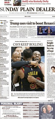 The Plain Dealer's front page for May 6, 2018