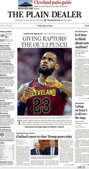 The Plain Dealer's front page for May 4, 2018