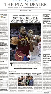 The Plain Dealer's front page for May 2, 2018