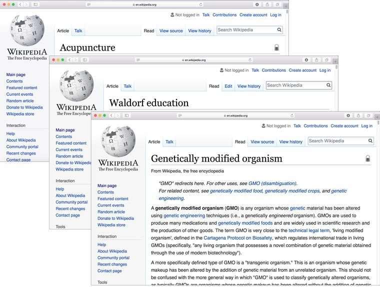 Wikipedia's Arbitration Committee had authorized editing restrictions on such topics as abortion, acupuncture, genetically modified organisms and Waldorf education.
